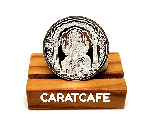 Ganesh Silver Coin - CARATCAFE God Ganesh Ji Silver Coin (10 Gram / 999 Purity BIS Hallmarked Certified) Ganesh Coins for Puja, Diwali Gift Pooja,Coins for Wedding Indian & Wealth, Luck & Prosperity