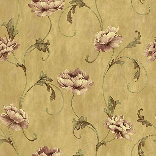 Wallpaper Designer Rose Mauve Floral with Green Leaf Scroll on Tan Faux (Green Scroll Leaf Wallpaper)