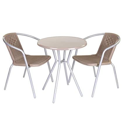 Conjunto de Mesa y sillas para terraza marrón de Acero Garden ...