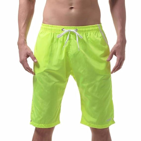 Herren Unifarben Kurz Badehosen Schwimmhose Bademode Strand Boxer Sommer Shorts