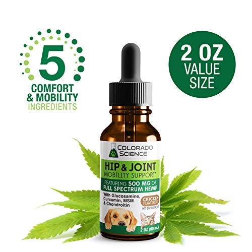 (Colorado Science Hip & Joint Formula with Full Spectrum Hemp Oil, Curcumin, Chondroitin, Glucosamine, MSM - 500MG (2 Oz))