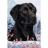 Cheap Winter Berries Garden Size Flag Black Labrador Retriever