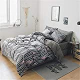PromQueen Modern Print weight Breathable and Comfortable Super Soft Bedding Sets Queen Size Boy 100% Natural Cotton Duvet Cover Set Stripes Print Luxury Duvet Comforter Cover 3 Pieces