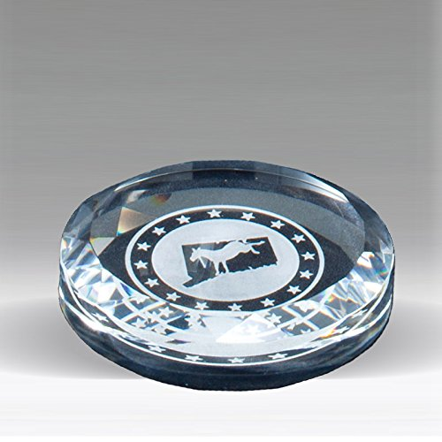 - Customizable 3-1/2 Inch Round Paperweight Optical Cut Crystal with Beveled Edge with Personalization