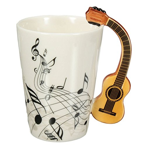 Acoustic Guitar Mug (Novelty Guitar Ceramic Cup Personality Music Note Mug Coffee Tea Cup Water Bottle Unique Gift Home Cafe)