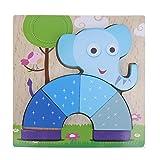 Wooden Tetris Puzzle ,Awakingdemi 3D Wooden Cartoon Animal Elephant Puzzle for Intelligence Kids Educational Toys