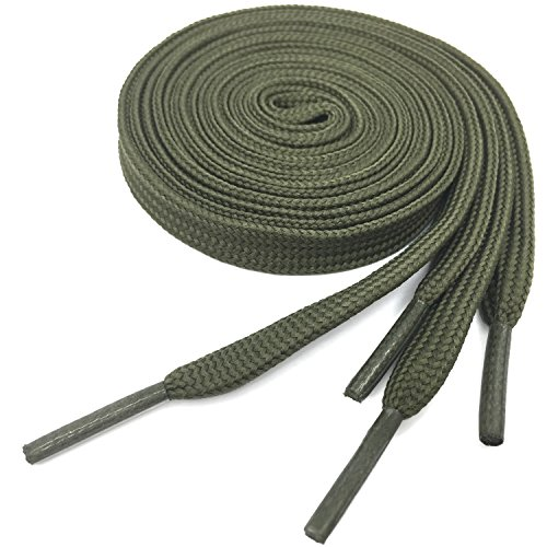 Flat Athletic Shoelaces YJRVFINE Thick Shoe Laces Army Green 51.18