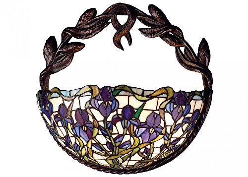 Tiffany  Iris Wall Sconce, - glass wall decorations - Floral Stained Glass