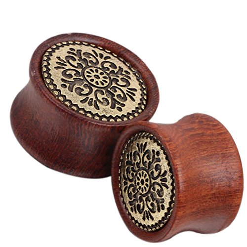 Double Flare Wooden Plugs with Metal Logo Front (8mm 0g)
