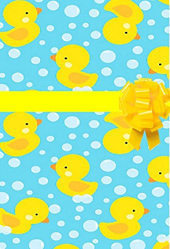Baby Shower Rubber Ducky Yellow Duck Gift Wrap Wrapping Paper - Bright & Vivid ()