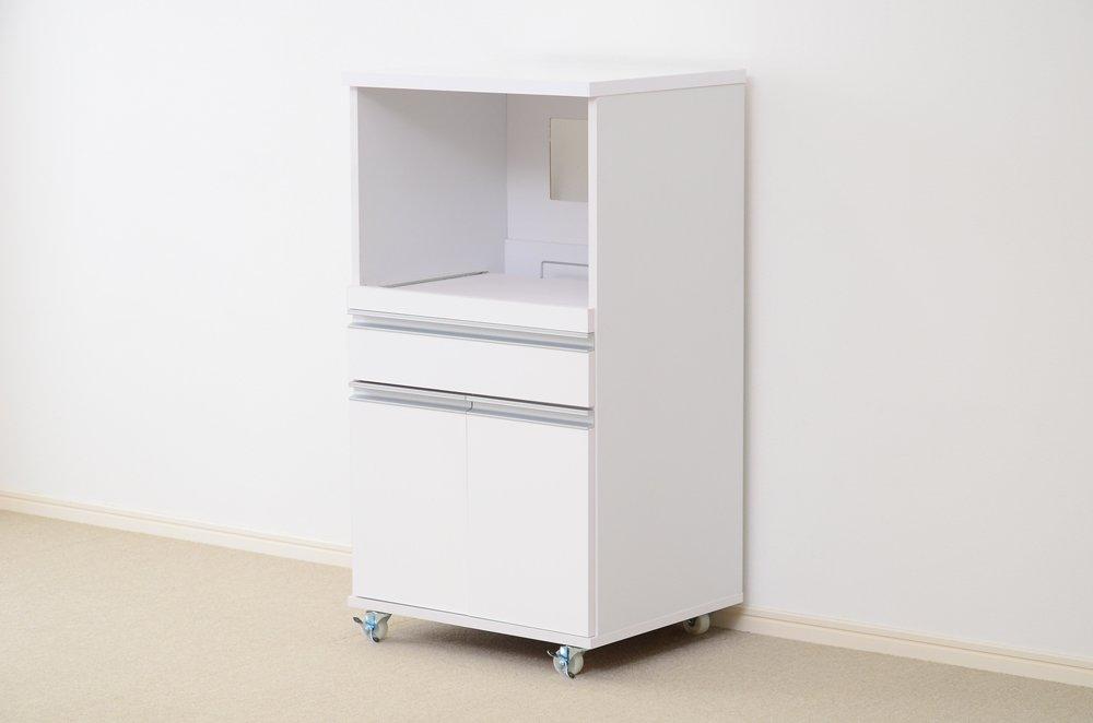 100%安い おしゃれでシンプルな食器棚レンジ台 幅54 ホワイト ホワイト ホワイト 鏡面仕上げキャスター付き(キッチン収納ラックレンジボード) 幅54 ホワイト B071X6156R B071X6156R, 浅川町:ab0a29d7 --- martinemoeykens.com