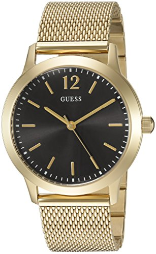 GUESS Men's U0921G3 Dressy Gold-Tone Watch with  Black Dial  and Mesh Band