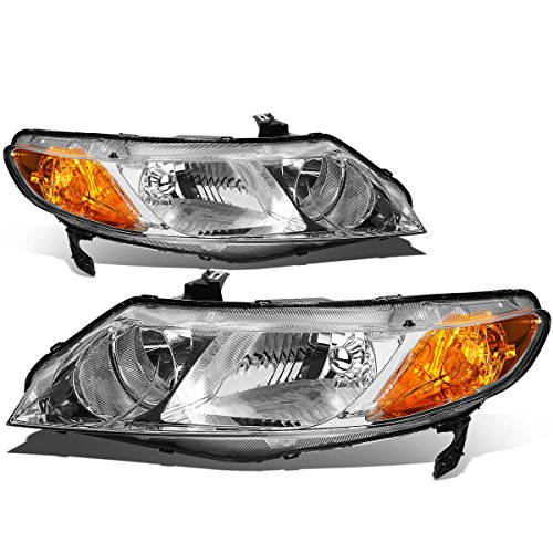 Honda Civic 4 Door Corner - For 06-11 Honda Civic Sedan Pair of Chrome Housing Amber Corner Headlight - 8th Gen