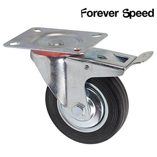 Forever Speed Lote de 4 Ruedas Pivotantes Ø 75mm Ruedas Giratorias de Transporte Negro para Carritos Muebles Con 2 Freno & 2 placa de montaje Soportan 50 kg ...