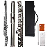 Aileen Lexington C-Key Closed Hole German Silver Flute with Full Accessories and Maintenance Kit