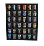 Shot Glass Wall Curio Display case, Wall Shelf for Minifigures - No Door, Black