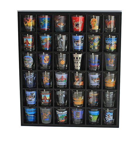 - Shot Glass Wall Curio Display case, Wall Shelf for Minifigures - No Door, Black