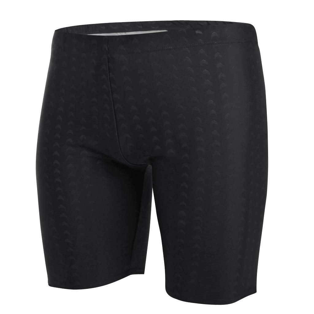 Fluorodine Men's Square Leg Jammer Short Swim Suit Black Shark L(36''-38'')