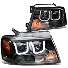Ford F150 Pair of Black Housing Amber Corner 3D LED U-Halo DRL Projector Headlights