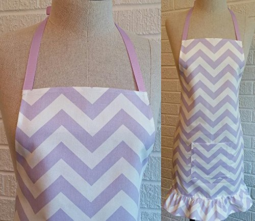 Lavender Chevron Apron with Pocket, Ruffle - Made in USA, ZigZag Stripe