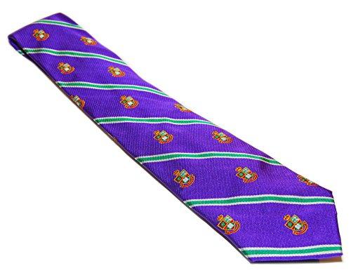 - Polo Ralph Lauren Men Silk Preppy Prep Dress Tie Italy Purple Green Crest Stripe