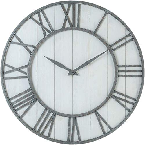 Oldtown Farmhouse Metal Solid Wood Whisper Quiet Ticking Wall Clock Whitewash, 36-inch