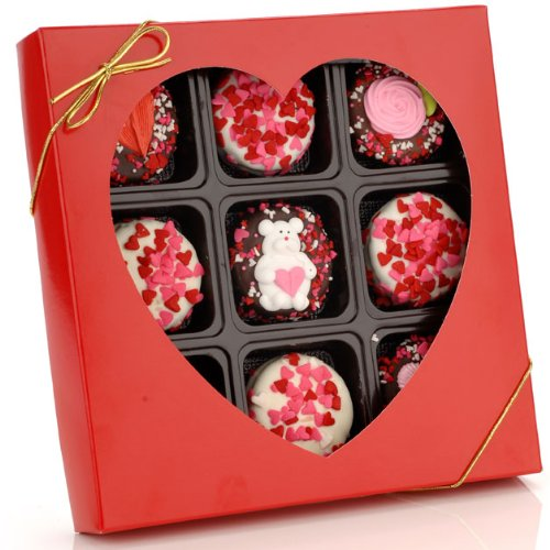 (Sweetheart Box of 9 Romantic Decorated Oreo Cookies)