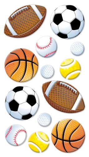 (Puffy Dimensional Stickers-Sport Balls)