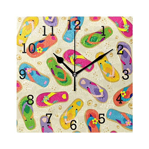 Anmarco Flip Flops Square Wall Clock, Non Ticking Digital Quiet Sweep Decorative Clocks for Kitchen Bedroom Living Room