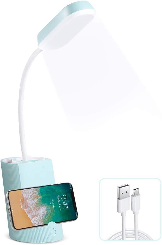 VADIV Lámpara de Escritorio LED con Portalápices y Soporte de Móvil Lámpara de Mesa USB de Carga Brillo de 3 Niveles Control Táctil Plegable Protección para Los Ojos - Azul