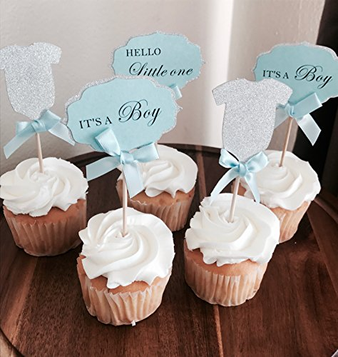 Price comparison product image Mother&Fabulous Baby Boy Cupcake Toppers Its A Boy &Hello Little One & Silver Glitter BodySuit With Elegant blue Bow. A Special Baby Shower Party Decoration. (18)
