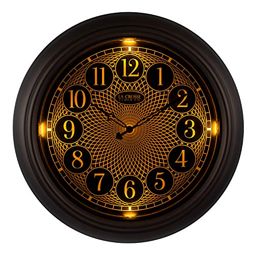 (La Crosse Technology 403-3246BR 18 in in/Out Lighted Bronze Wall Clock )