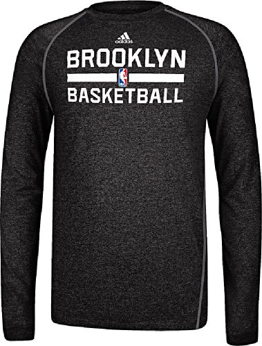 (Brooklyn Nets Heather Black Climalite Practice Long Sleeve Shirt by Adidas (L=44))