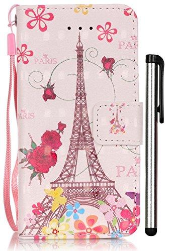 (iPhone SE Case,iPhone 5S Case,iPhone 5 Case,[3D Painting][Wrist Strap][Kickstand] Pattern Premium PU Leather Wallet [Card/Cash Slots] Flip Cover for iPhone 5 5S SE Stylus Pen (Eiffel Tower))