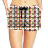 Dianqusha Checkered Retro Symbolic Culture Folk in Modern Print Womens Summer Floral Print Drawstring Elastic Shorts