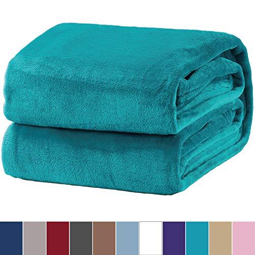 Bedsure Flannel Fleece Luxury Blanket Teal Throw Lightweight Cozy Plush Microfiber Solid (Luxury Throw Blanket)