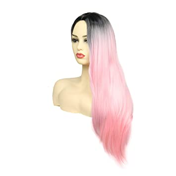 Amazon.com   Ombre Pink Wig Long Straight Hair Wig Two Tone Dark Roots To  Pink Middle Part Wigs Heat Resistant Synthetic Lolita Harajuku Cosplay  Daily Full ... 71734b39ea