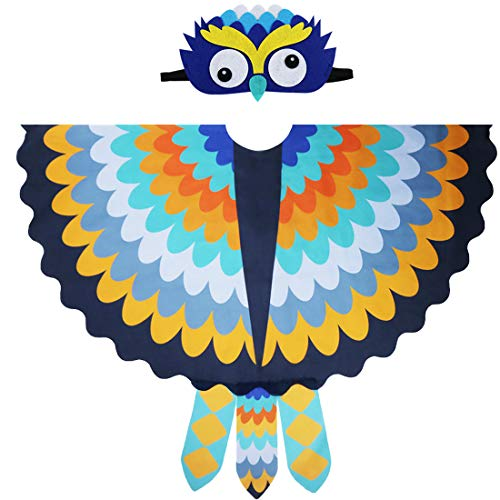 Toddler Kids Fairy Bird Costume Owl Wings Feathered with Mask - Boys Girls Animal Dress-up Party Favors (#5 Yellow-blue)