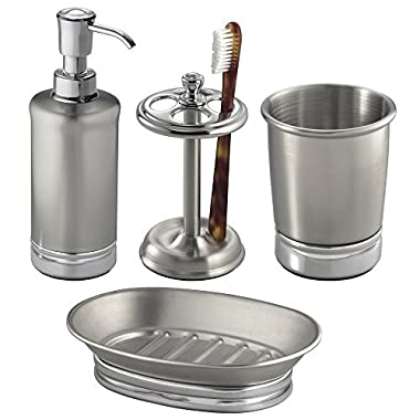 mDesign 4-Piece Bathroom Vanity Stainless Steel and Chome Bath Accessories - Soap Dispenser, Toothbrush holder, Tumbler, Soap Dish - Split Finish