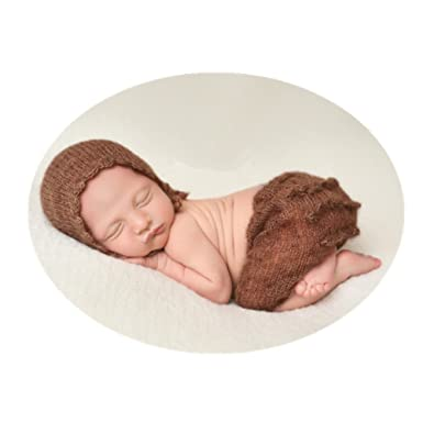 Fashion cute newborn boy girl baby costume outfits photography props hat pant light brown