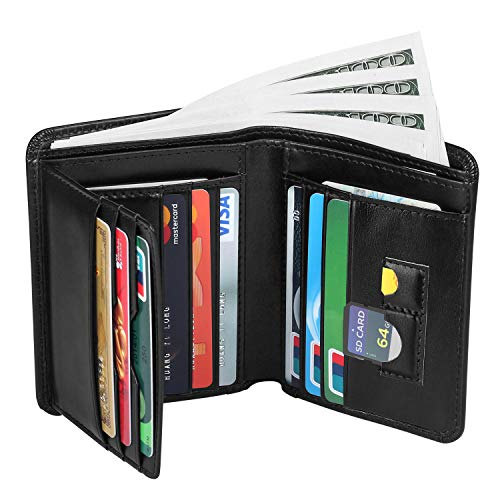 Mens Leather Wallets, Men Genuine Leather RFID Blocking Trifold Wallet Money Clip