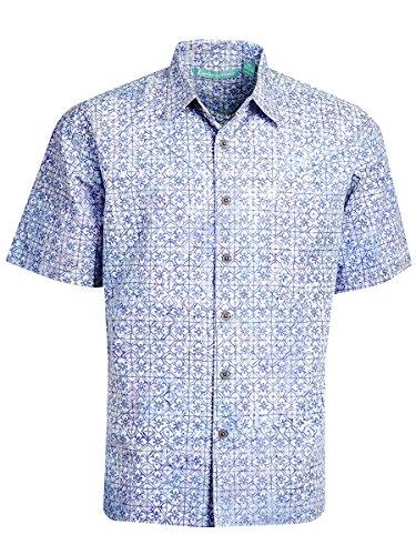 Cornflower Blue Natural - Artisan Outfitters Newport Batik Cotton Shirt (Cornflower Blue, 2XL) AO118-1038-2XL