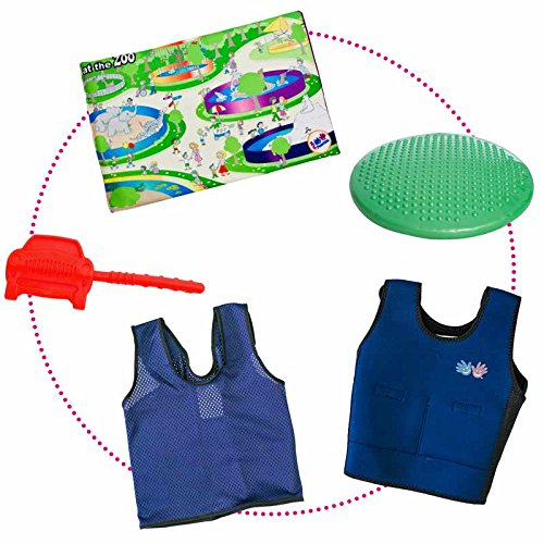 Circle Time Success Kit – For Sensory, Attention or Motor Challenges – Vests, Lap Pad, Cool Chews and Cushion – Ages 3-8 by Fun and Function