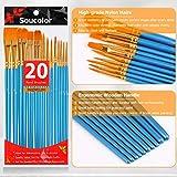 Soucolor Acrylic Paint Brushes Set, 20Pcs Artist