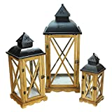 Northlight  Country Elegance Wooden Garden Style Glass Pillar Candle Lanterns, Set of 3, 14.75''/27.75''