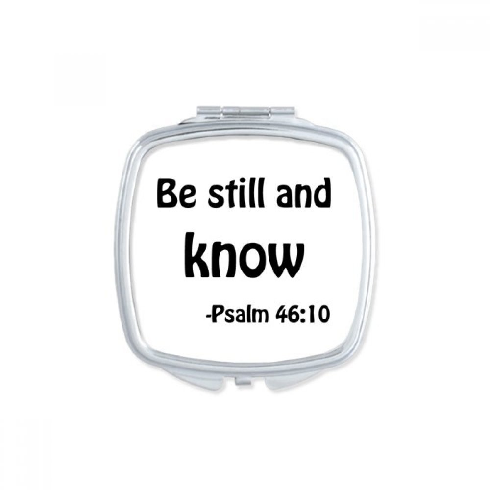 DIYthinker Be Still And Know Christian Quotes Square Compact Makeup Mirror Portable Cute Hand Pocket Mirrors Gift
