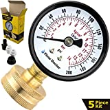 complete well water test kit - Flow Doctor Water Pressure Gauge Kit, All Purpose, 5 Parts Kit, 0 To 200 Psi, 0 To 14 Bars, Standard 3/4