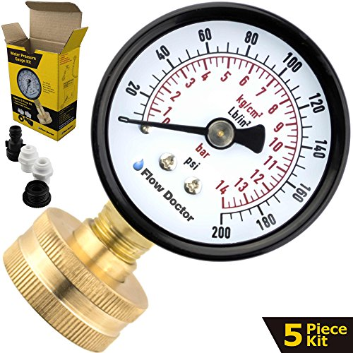 Flow Doctor Water Pressure Gauge Kit, All Purpose, 5 Parts Kit, 0 To 200 Psi, 0 To 14 Bars, Standard 3/4