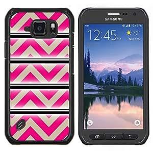 TECHCASE---Cubierta de la caja de protección para la piel dura ** Samsung Galaxy S6 Active G890A ** --Modelo rosado beige líneas abstractas