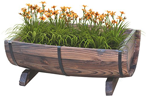 Vintiquewise Half Barrel Adjustable Deck Railing Planter, 20